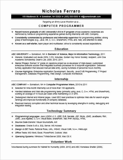 entry level software developer resume unique sample resume