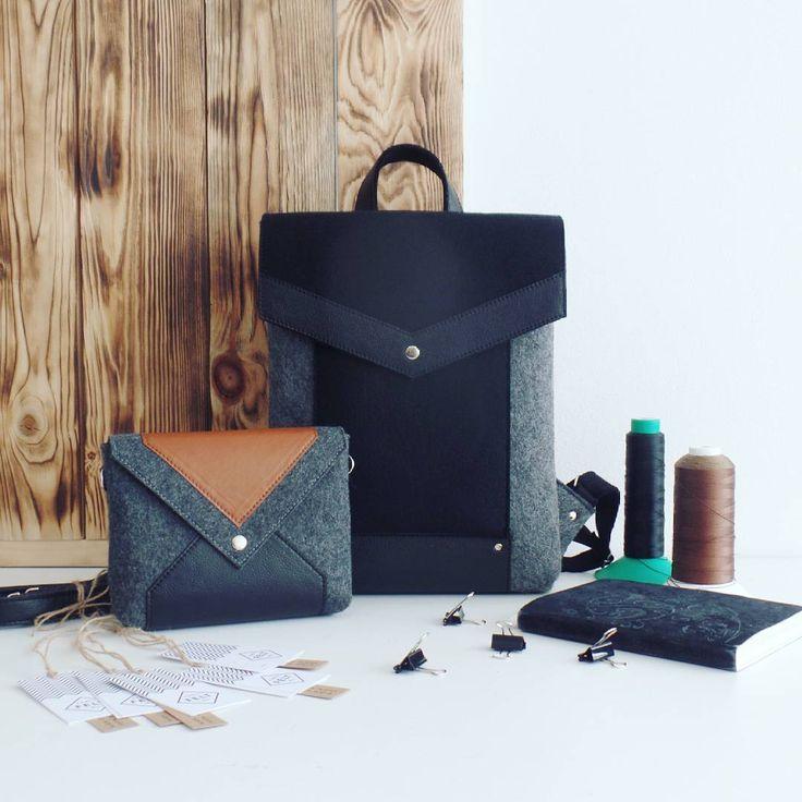 Черно-графитовый рюкзак и сумочка через плечо с коричневой кожей ❤ Этот комплект был сделан на заказ, и уже отправлен  покупательнице.  А я хочу напомнить, что сейчас у нас начался горячий сезон, в наличии сумок и рюкзаков осталось катастрофически мало. Срок изготовления на данный момент 1-1,5 недели и оно может увеличиваться 🙈 Поэтому рассчитывайте время и лучше пишите немного заранее 😃