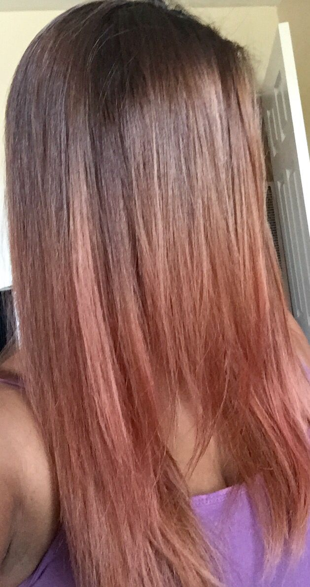 Soft Subtle Rose Gold Hair Color For Brown Olive Tan