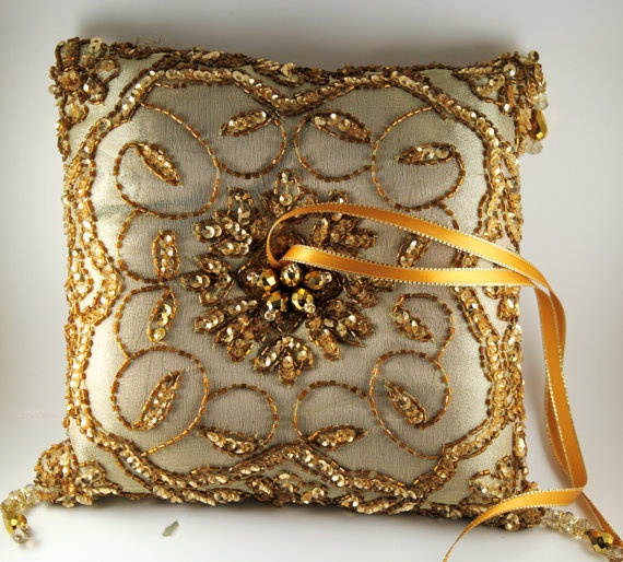 Gold Pillow Ring Bearer / Bridal Accessories / by CeremonyDeluxe
