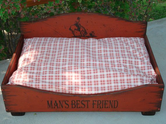 Medium Dog Bed Western Dog Bed Wood Dog Bed by WorkHorseFurniture
