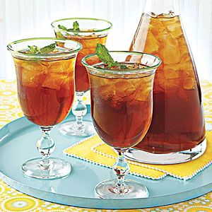Mint Iced Tea:  Earl Grey or English Breakfast Tea  Peppermint Tea  1 Bunch of Fresh Mint  1/2 Cup of Sugar  8 Cups Water