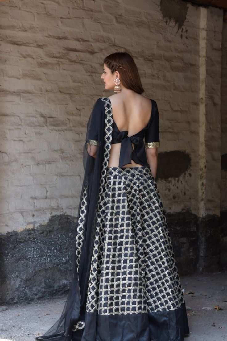 The Peach Project-The Black and Gold Damsel Lehenga Set