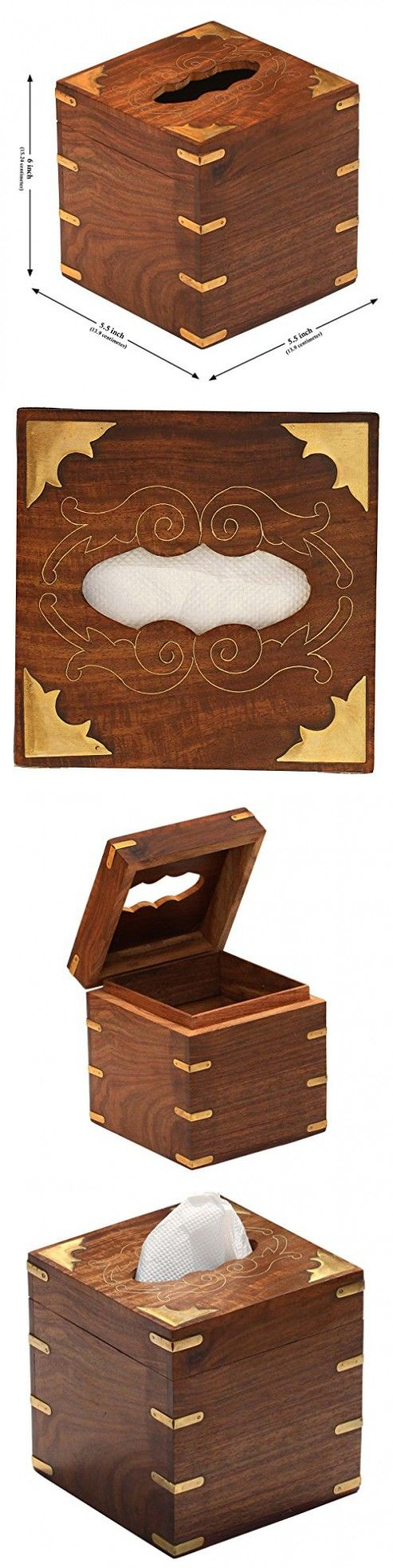 Javi Handmade Wooden Facial Tissue Box Cover Holder with Brass Work Home Decor and Lovely Gift Idea