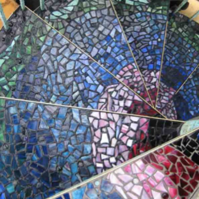 Detail Of Glass Mosaic Steps On Spiral Stairs By Celindau0027s Glass Design    Karenu0027s Kinds Spiral Stair