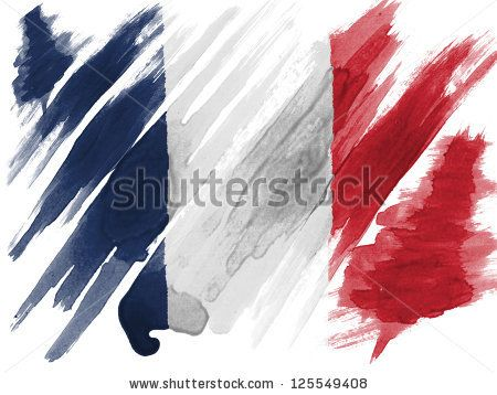 France. French flag  painted with watercolor on paper