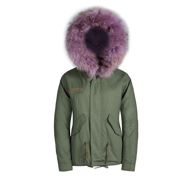 light purple faux fur hood parka male jacket raccoon fur collar hood parka
