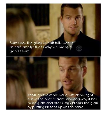 NCIS: Los Angeles. It sounds like he's describing my family somehow.