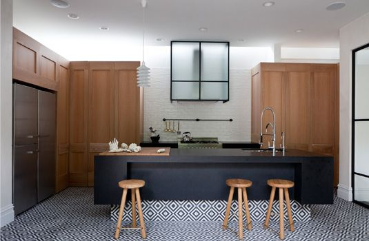HECKER GUTHRIE INTERIOR DESIGNERS. Kitchen of Armadale project. The tiles. The steel doors. The varying textures and tones. I want to be there.