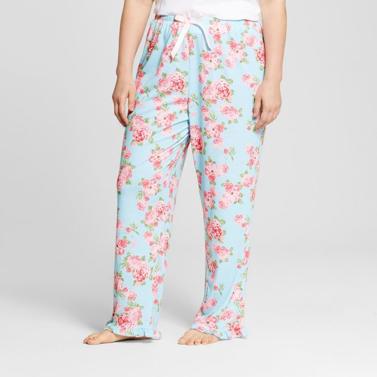Bride & Beauties by Bedhead Pajamas Women's Plus Size Cabbage Rose Long Ruffle Pajama Pant - Aqua 1X, Blue