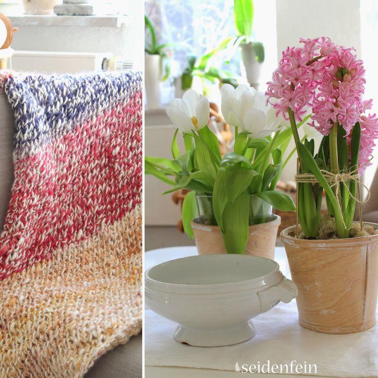 Hyazinthen, Tulpen, spinnen, Wolle, häkeln, stricken, pflanzengefärbte Wolle, Hyazinten in Glas, Dekoblog, Wohnblog