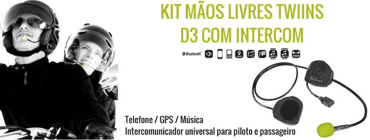 TWIINS D3 | KIT MÃOS LIVRES C/ INTERCOM Graças à funcionalidade de intercomunicação, fale com o passageiro, escute a sua música favorita e atenda as suas chamadas enquanto viaja na sua moto. O Kit de mãos livres Twiins® D3 com INTERCOM é compatível com todos os telefones móveis, Smartphones e outros intercomunicadores Bluetooth®.  #lusomotos #twiins #d3 #kitmãoslivres #intercom #comunicação #música #gps #bluetooth