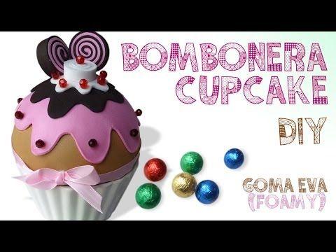 DIY BOMBONERA CUPCAKE GOMA EVA (FOAMY) ♥ Qué cositas - YouTube