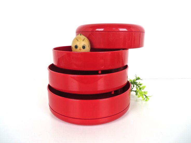 Mod Interdesign Red Plastic Swivel Desk Organizer, Retro Stacking Desk Cady, Modern Plastic Craft Organizer by HerVintageCrush on Etsy