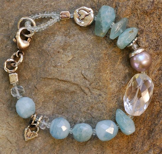 """~Ocean Spray...  I've always been fond of Aquamarine It's my mother's birthstone and it reminds me of the ocean. Strung with a large and luscious Freshwater Pearl and handmade sterling silver. Sterling lobster. Available in 8"""" or 7.5"""""""
