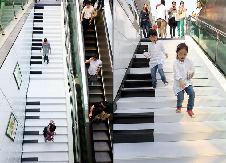 Stairs painted as a piano keyboard are seen at Wulin Square in Hangzhou, China. There are 54 stairs and they  emit a piano sound when people step on them.