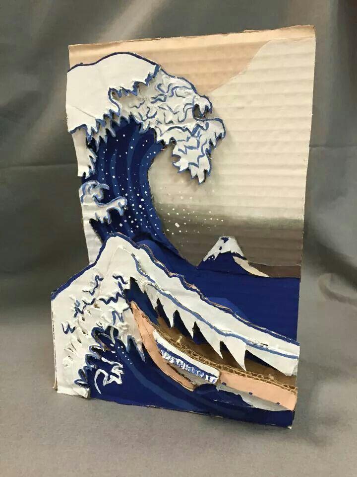 Famous paintings turned into 3-D art. Posted by art teacher Abigail Tucker Gravatt.