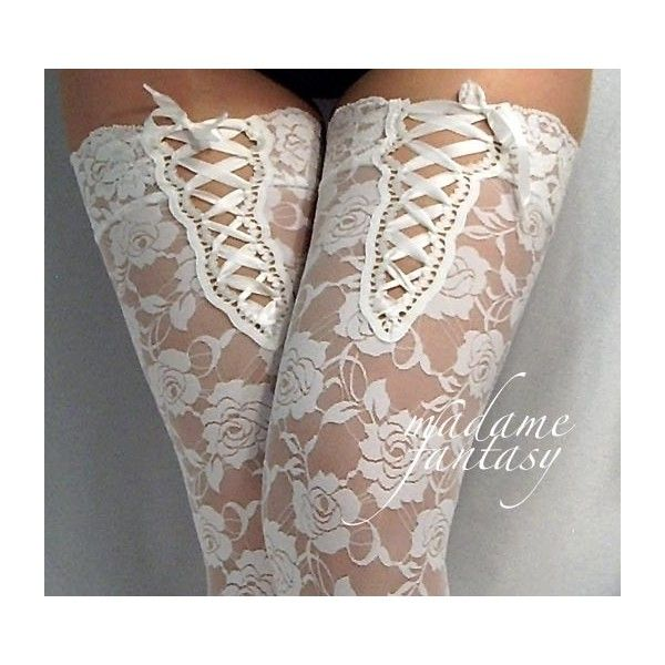 Sexy White Lace Stockings With Lace Up Top - Madame Fantasy found on Polyvore