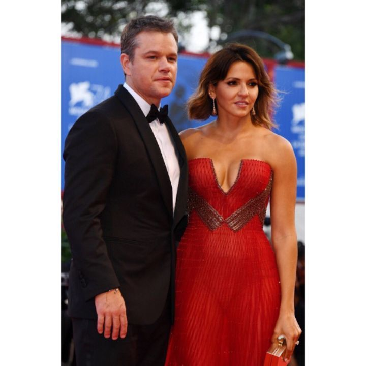 #MattDamon in #Versace and Luciana Damon in #AtelierVersace at the Opening Ceremony of the 74th Annual #VeniceFilmFestival. #VersaceCelebrities