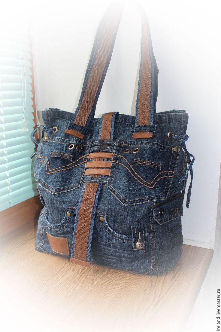 Купить Джинсовая сумка-баул 18/12 - джинсовый стиль, джинсовая сумка, джинс, джинса