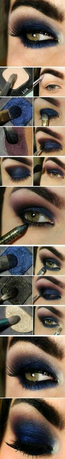 Smokey Navy Eyeshadow Makeup ★