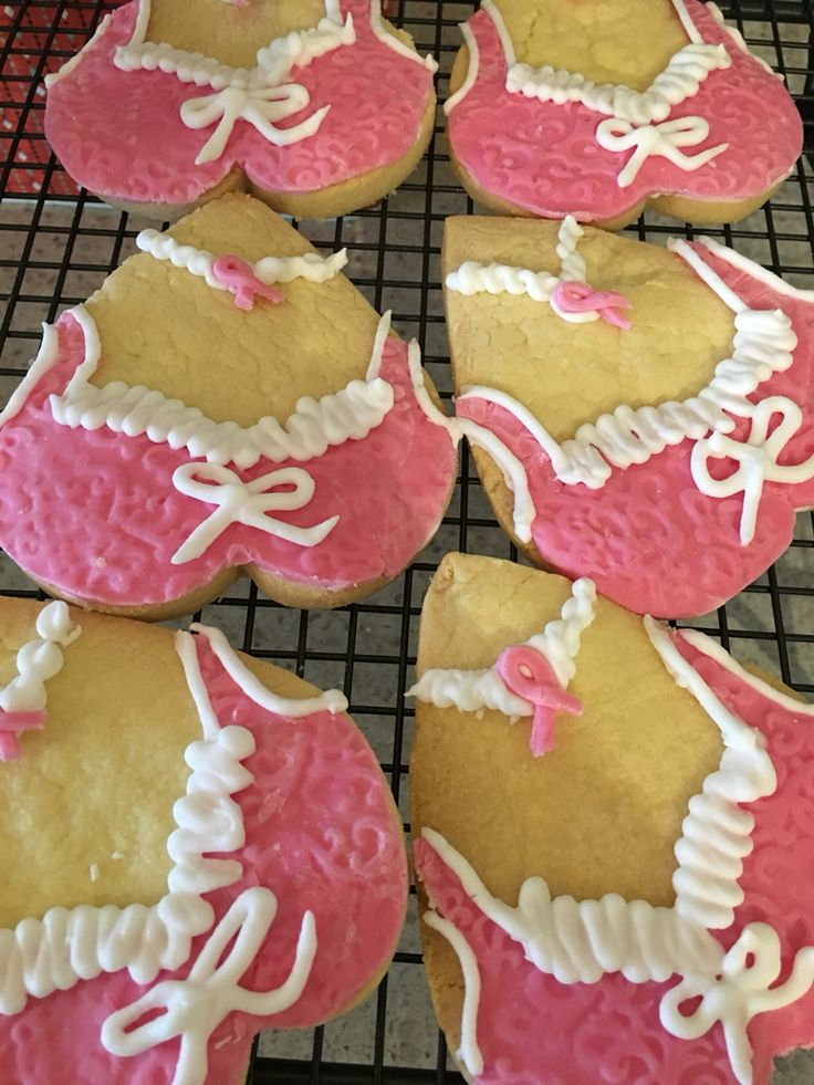 Bra cookies for the pink ribbon breakfast - raising funds for breast cancer research