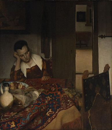 A WOMAN ASLEEP  (Slapend meisje)  c. 1656–57  oil on canvas  34 1/2 x 30 1/8 in. (87.6 x 76.5 cm.)  The Metropolitan Museum of Art, New York  Bequest of Benjamin Altman
