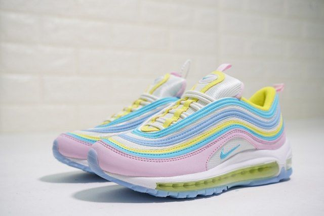 meet 2dcb9 70ac8 Nike Air Max 97 women's Running Shoes Yellow Blue Pink ...