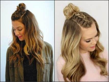 65+ trendige Frisuren halb hoch halb runter Knoten