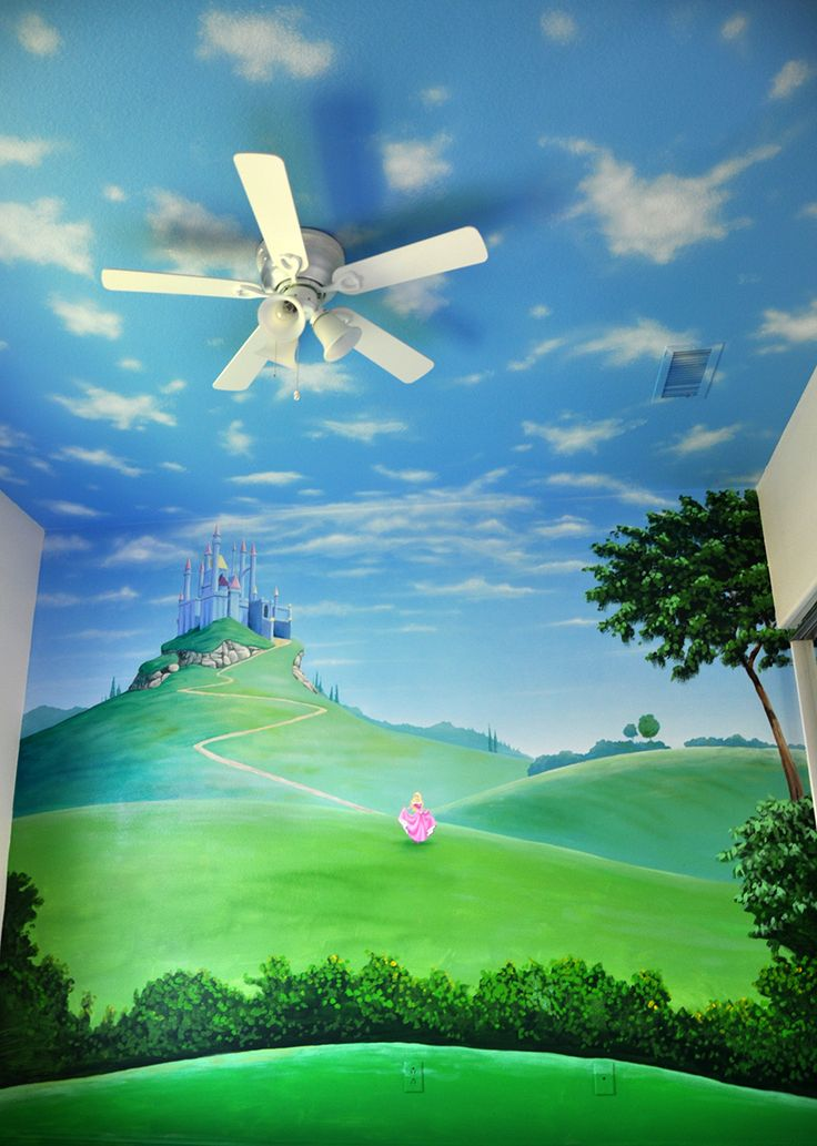 """Princess"" mural painted on both wall & ceiling."