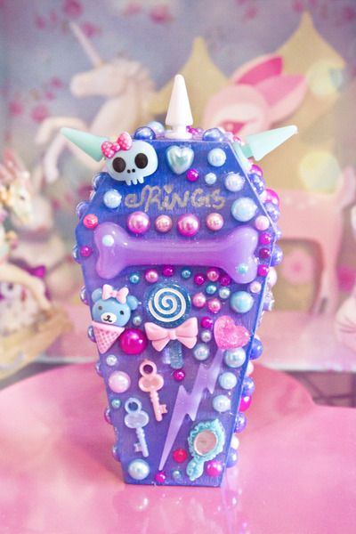 Rings n Things Trinket Coffin Box with sweet treats Cupcake graphic - one of a kind Kawaii Pastel Goth jewelry box