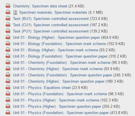 AQA | GCSE | Science A | Past papers and mark schemes