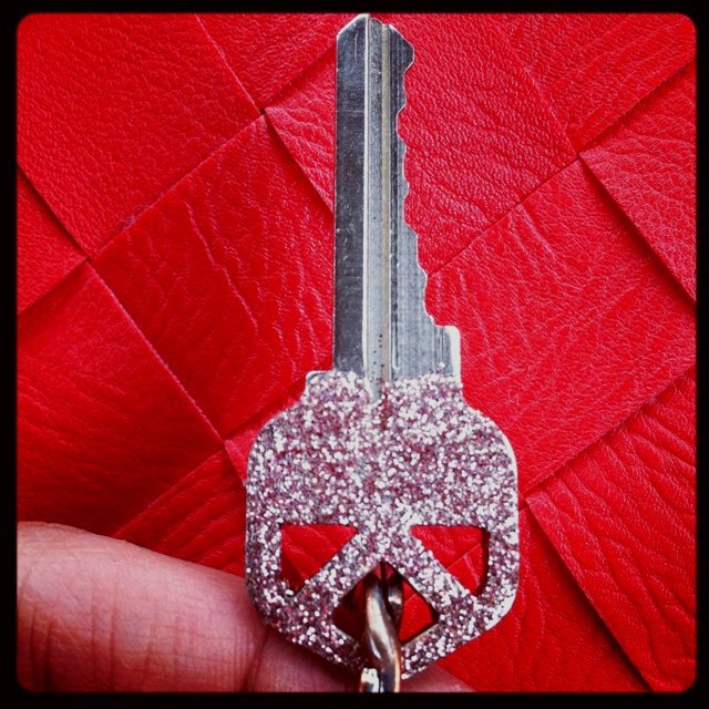 DIY glittered key. Cover with clear nail polish :)