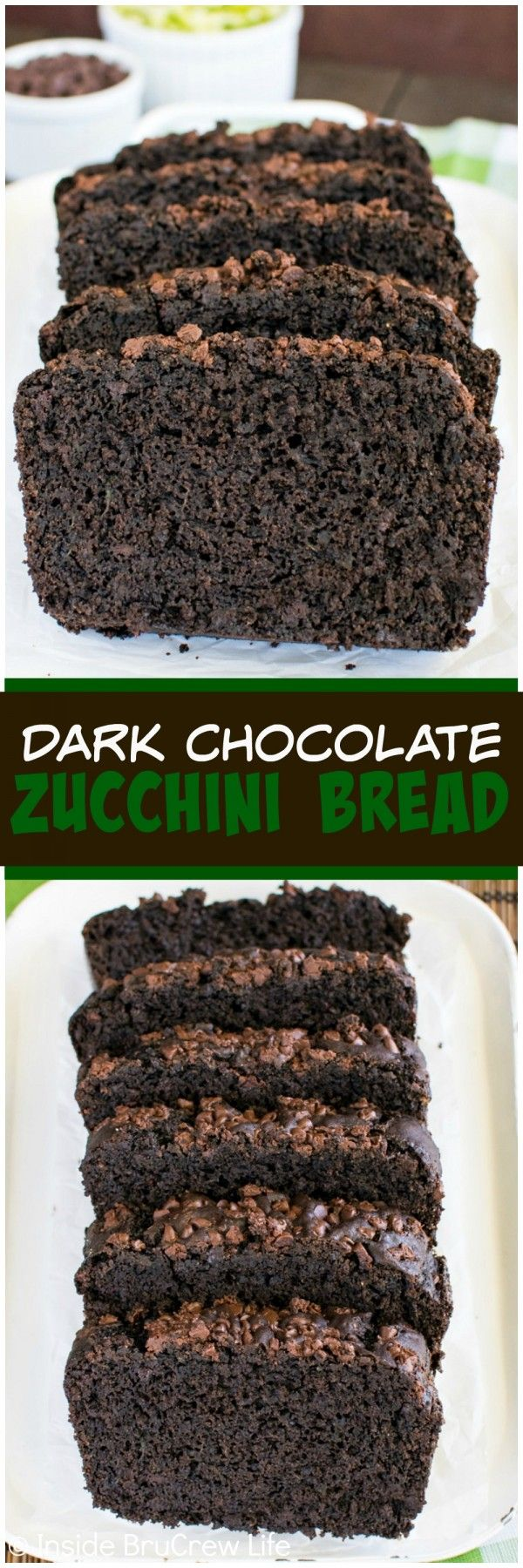 Dark Chocolate Zucchini Bread - two times the chocolate makes this sweet bread taste out of this world!  Awesome breakfast recipe!