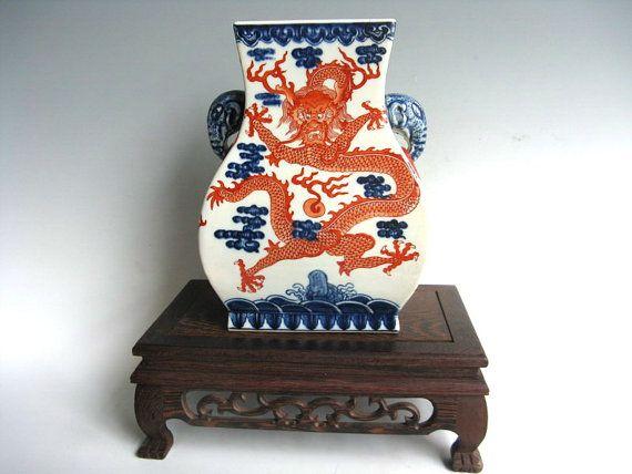 Antique chinois artisanat Oriental bleu & blanc décor sous glaçure rouge porcelaine Vase souhait Dragon Pattern et vous chance navire gratuit TB261