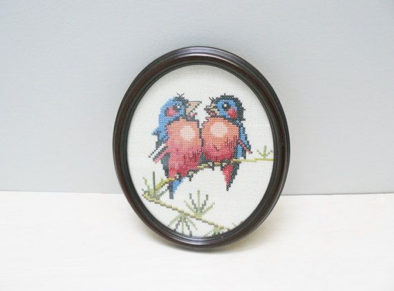 Bluebirds Vintage Cross Stitch Framed Art Home Decor
