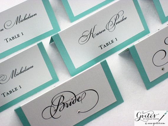 Tiffany Blue Place Cards Double Sided Wedding Place by Gvites