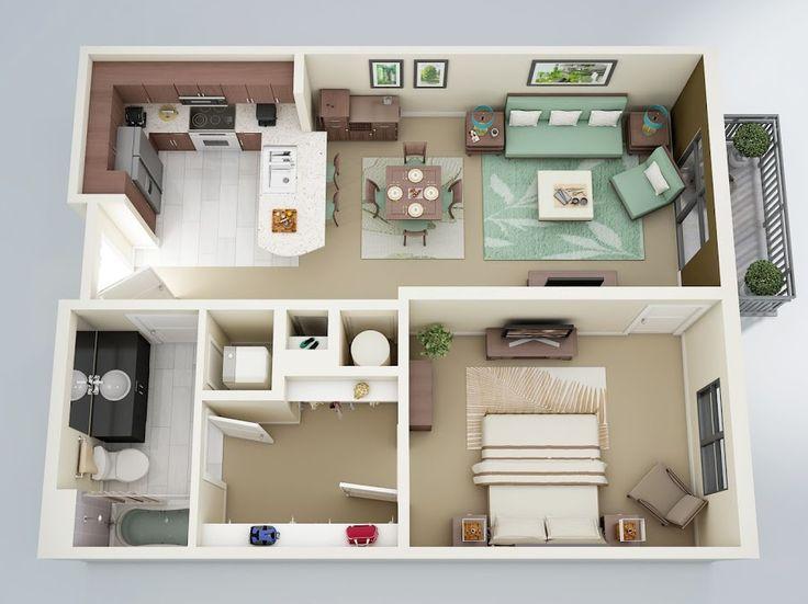 Phối hợp cửa gỗ công nghiệp với nhà một phòng ngủ