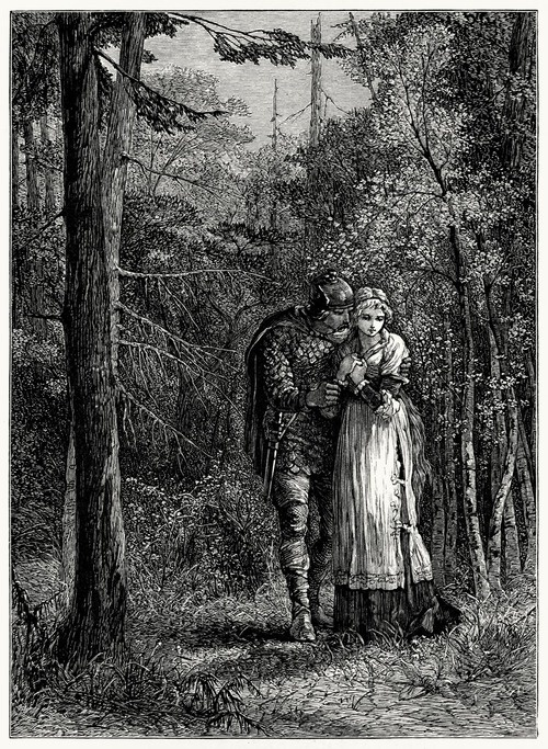 I wooed the blue-eyed maid,  Yielding, yet half afraid,  And in the forest's shade  Our vows were plighted    Mary A. Hallock Foote, from The skeleton in armor, by Henry Wadsworth Longfellow, Boston, 1877.