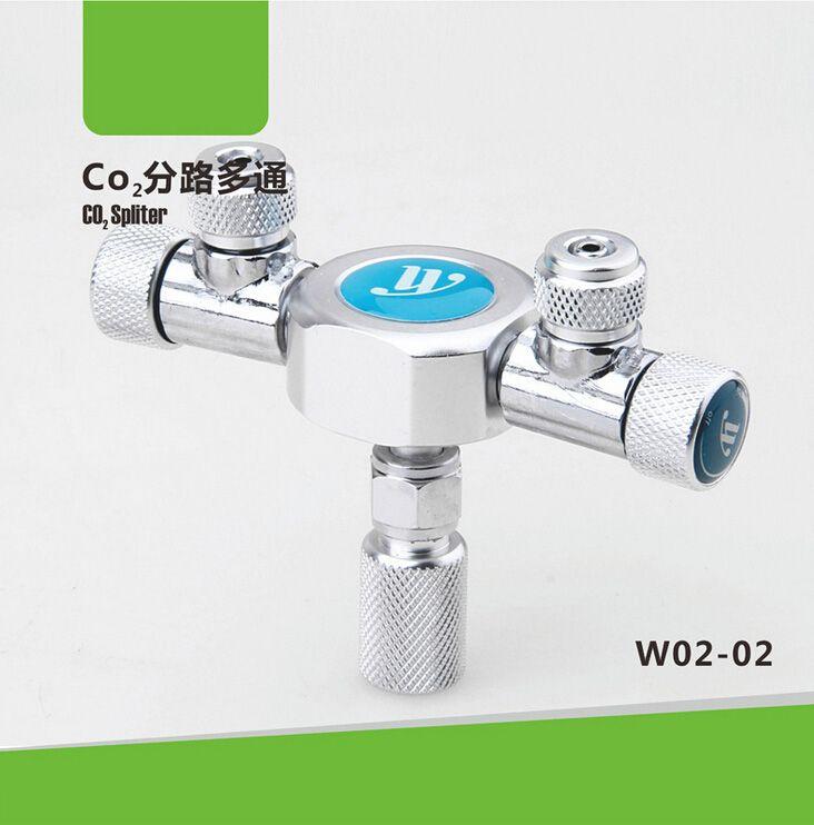 Delicate 2-way CO2 splitter fish tank cylinder multi-ported valve co2 aquarium wyin