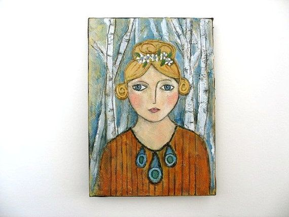 Birch Beauty-Art Girl Walking In Woods-Scandinavian look mixed media original art by luckduck  $60.00