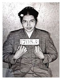 "December 1, 1955: Rosa Parks, a black seamstress, is arrested for refusing to give up her seat for a boarding white passenger as required by Montgomery city ordinance. Her action prompted the historic Montgomery Bus Boycott and earned her a place in history as ""mother of the civil rights movement."" Ms. Parks was inducted into the Alabama Academy of Honor in August 2000."