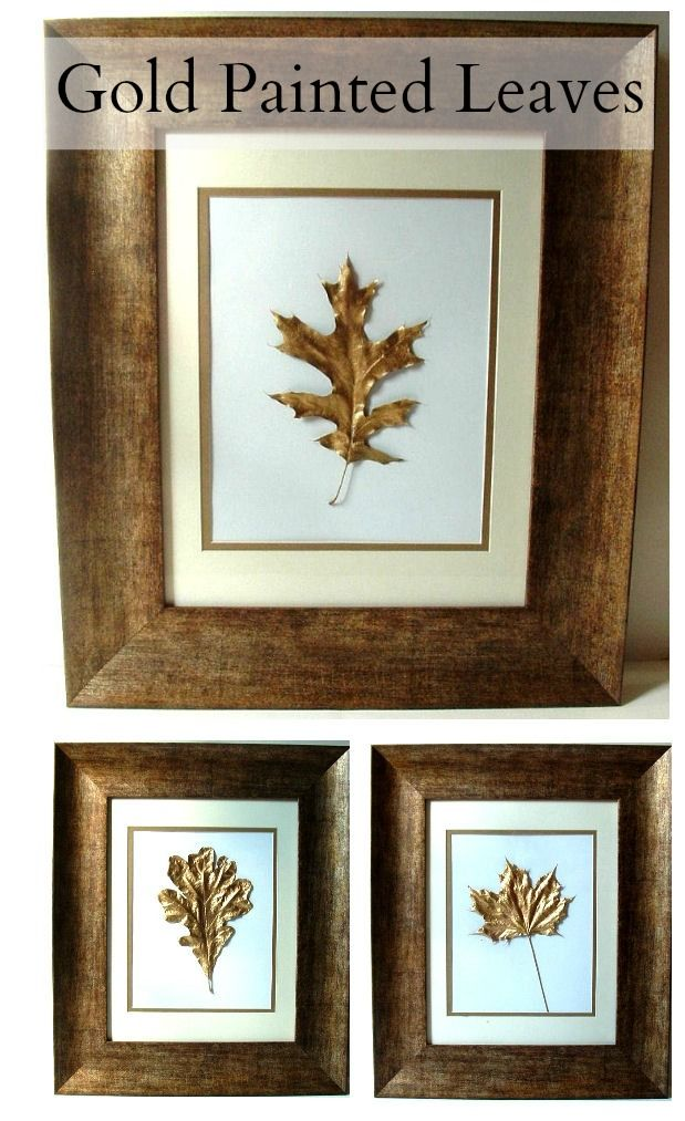 Gold Leaf Leaves DIY Project Frame Artwork.  Maybe I'll do this with the leaves off Emilee's tree