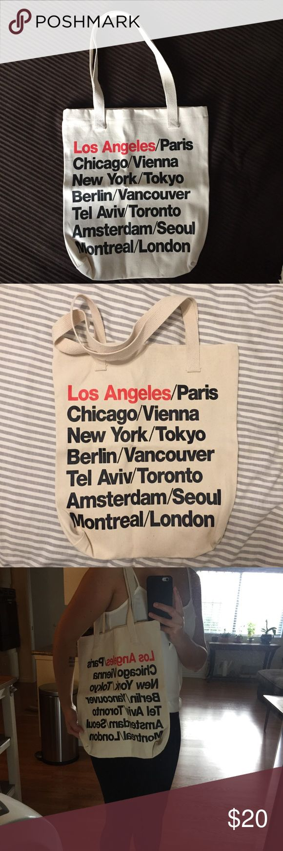 NWT American Apparel tote bag American apparel printed bull denim woven cotton tote in beige/black/red Los Angeles cities. Made in USA American Apparel Bags Totes