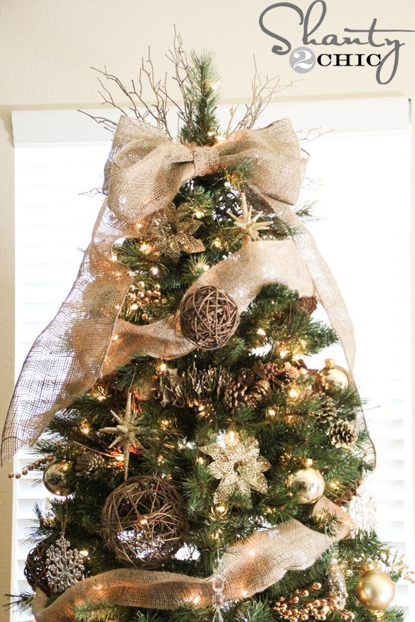 burlap bow tree topper tutorial and tree
