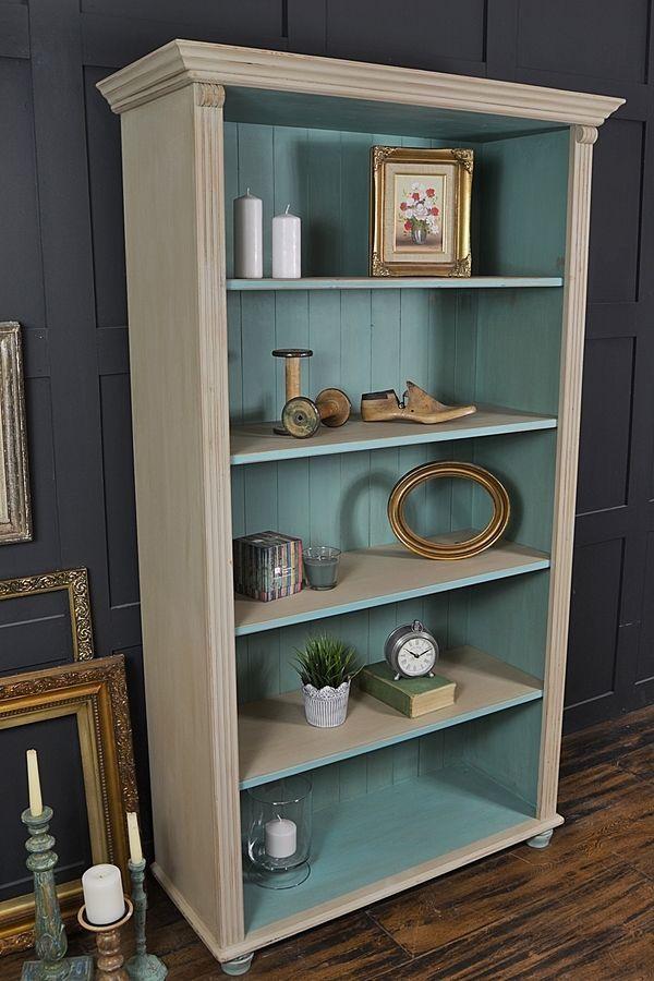 Shabby Chic Pine Bookcase with Bun Feet artwork #shabbychicfurnitureideas #shabbychicdresserswhite