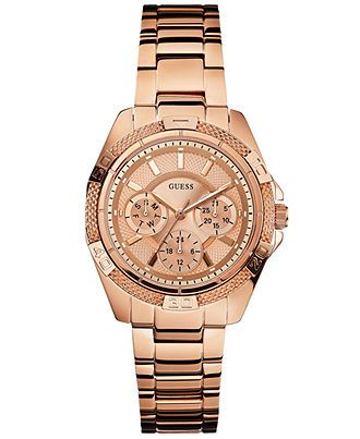 GUESS Watch, Women's Rose Gold-Tone Bracelet 36mm U0235L3 - Women's Watches - Jewelry & Watches - Macy's