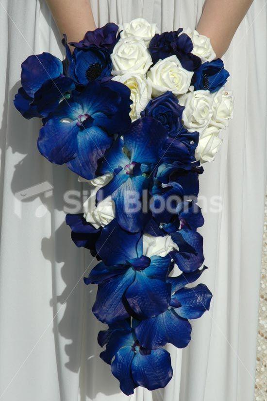 midnight blue wedding flowers | ... Bouquets || Cascading Bridal Bouquet w/ Ivory Roses & Midnight Blue