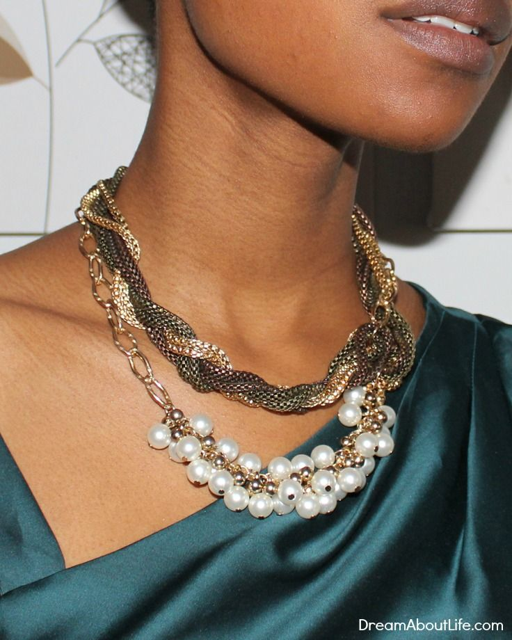 Megan Necklace - Colorful Multi-Chain Necklace With Glass Pearls