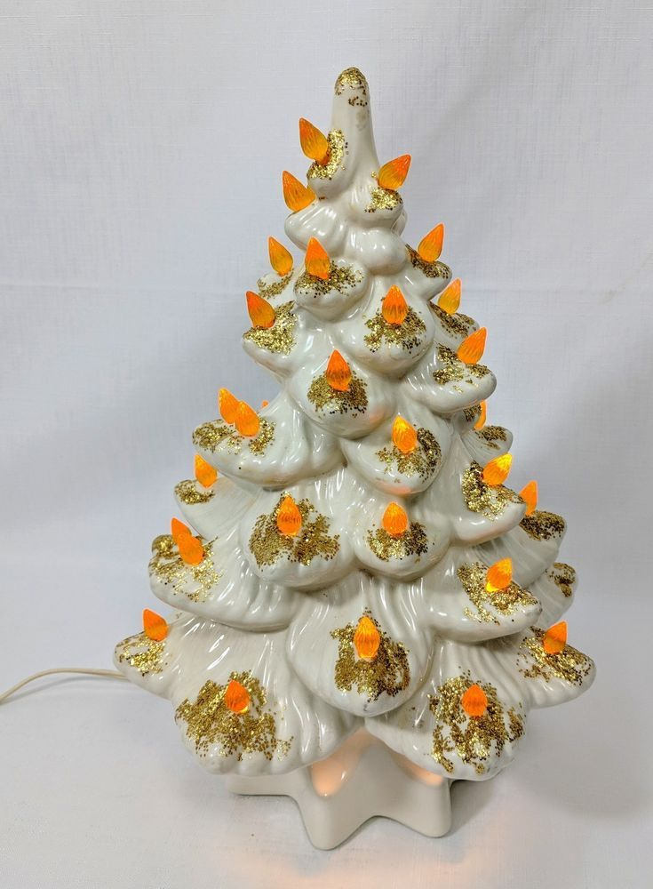 White And Gold Ceramic Christmas Tree Light Up Vintage Christmas